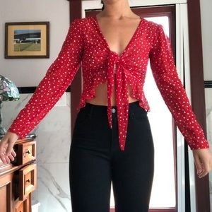Urban Outfitters red and white polka dot top